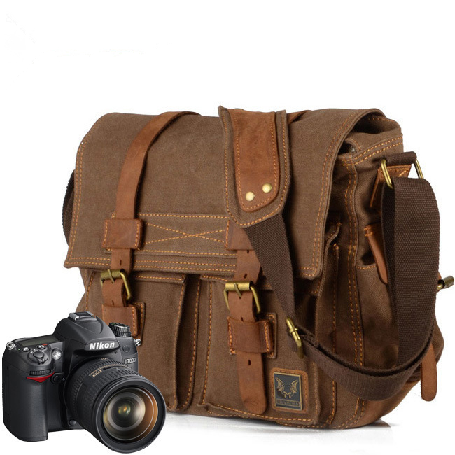 Melodycollection Luxury Cowboy Leather Shoulder Satchel Waterproof Waxed Canvas Bags Inner Tank SLR Camera Courier Briefcase