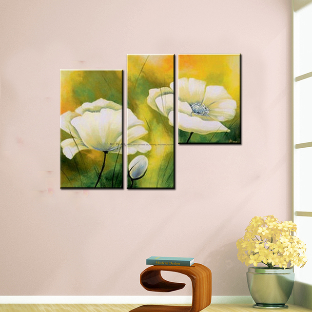 3 piece canvas wall art modern abstract white flower oil painting on ...