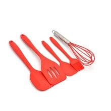 5PCS Red Silicone Scraper Egg Beater Baking Kit Cake Tool Kitchenware Decorating Tools