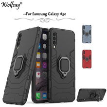 For Samsung Galaxy A50 Case Armor Metal Finger Ring Holder Phone Back Cover Fundas *