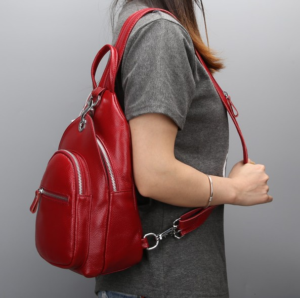 100% Guarantee Natural Genuine leather women backpack Multifunction chest bag shoulder bag Small casual womens travel bags