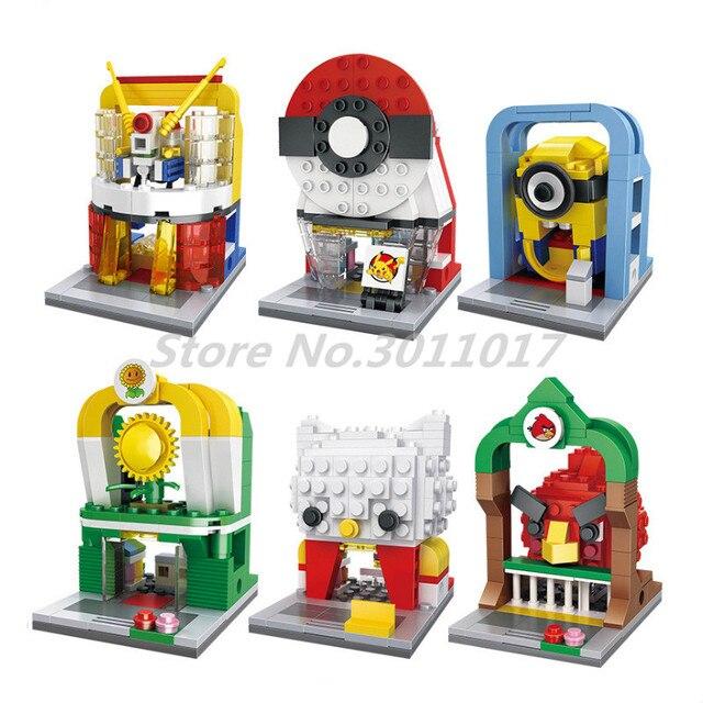 2018 New Anime Mini Street Series Building Blocks Elf Gundam Model Kitty Shop Bricks Gift Toys For Children HSANHE 6434 Kids