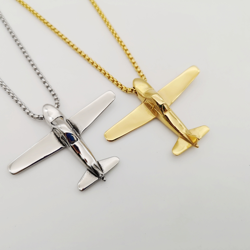 Black Knight Silver color flight Airplane pendant necklace mens creative Stainless steel plane necklace fashion jewelry BLKN0712 image