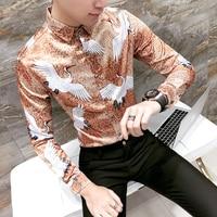 Persoonlijkheid Digitale Print Mannen Shirt 2018 Hot Koop Slim Fit lange Mouw Heren Smoking Shirts Mens Casual Plus Size Sociale Shirts