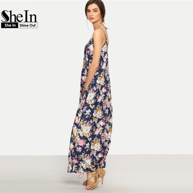 SheIn Long Summer Dresses For Women Beach Wear Boho Ladies Sleeveless Multicolor Floral Spaghetti Strap Shift Maxi Dress