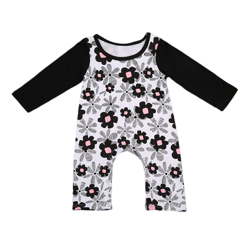 Cute Infant Newborn Baby Girls Long Sleeves Floral Romper Jumpsuit Sunsuit Outfits Cotto ...