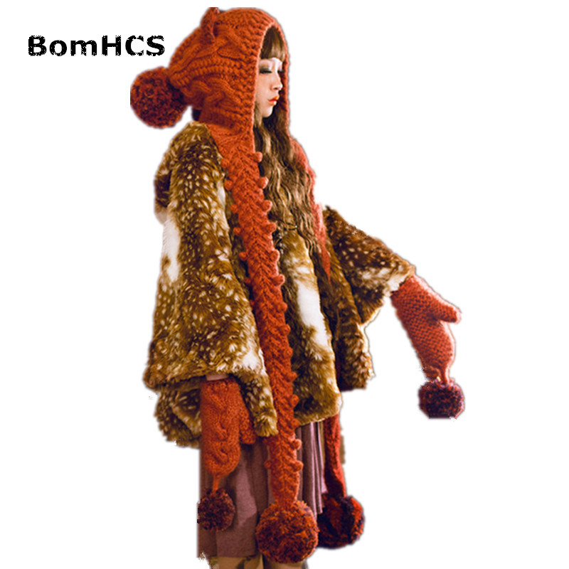 BomHCS  Hat with Scarf + Gloves (2pcs), Cute Cat Ears Winter Warm 100% Handmade Knitted Suit Beanie Neckerchief cute bear paw plush gloves winter warm thermal children knitted gloves full finger mittens cartoon gloves