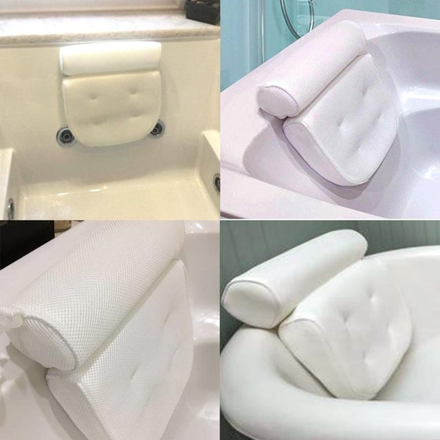 1PC 3D Spa Bath Pillow Neck Shoulders Supports Waterproof Comfy Massage Bathtub Cushion with Suction Cup Bathroom Supplies 4