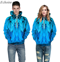 Echoine Blue Feather 3D Print Excercise Sweaters Men Women Pockets Hooded Sweatshirts Running Outdoor Sports Hoodies Uniforms