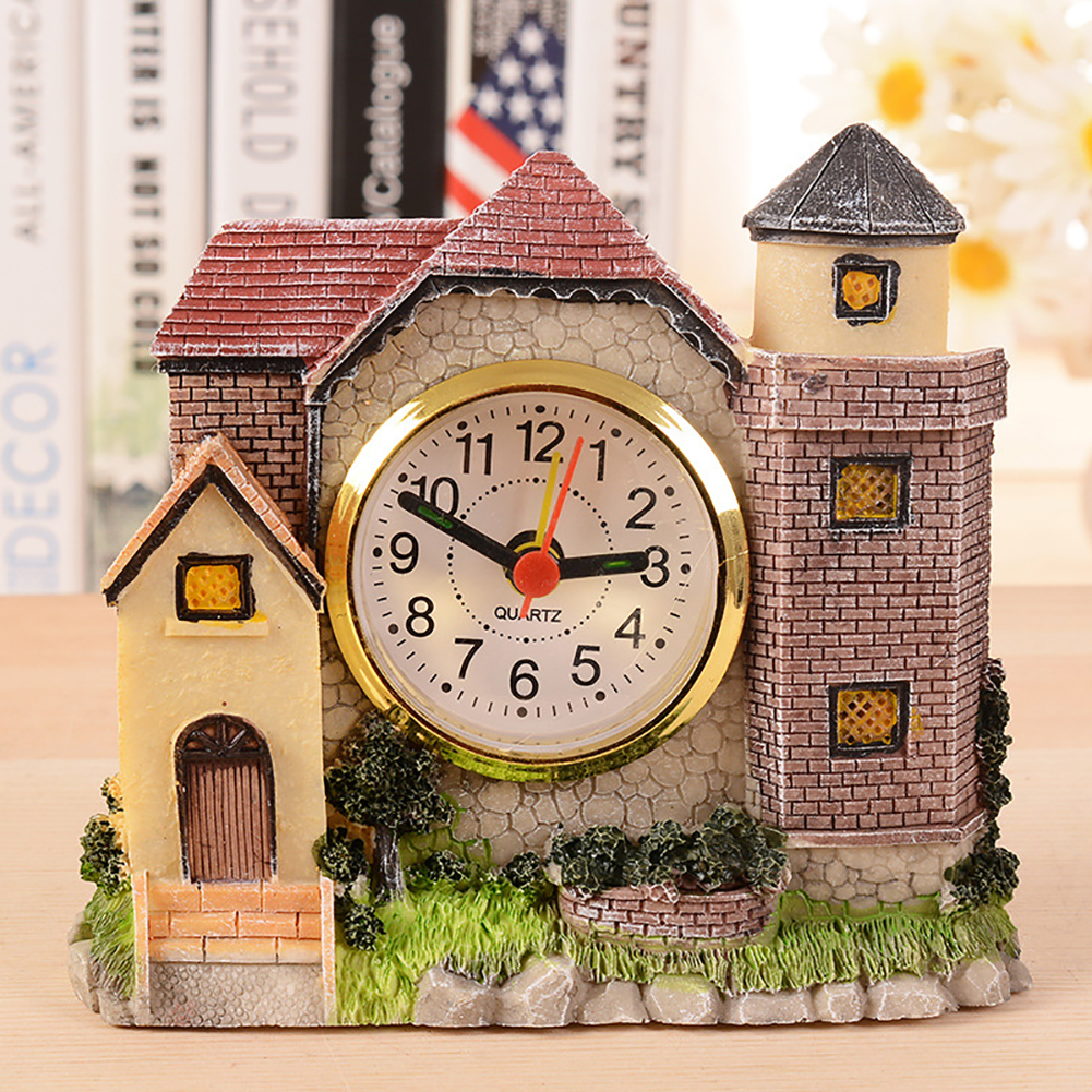 Creative Personality Villa Castle Antique Roman Era Old House Alarm Clock Bedside Alarm Clock Villa Resin Crafts Random Color