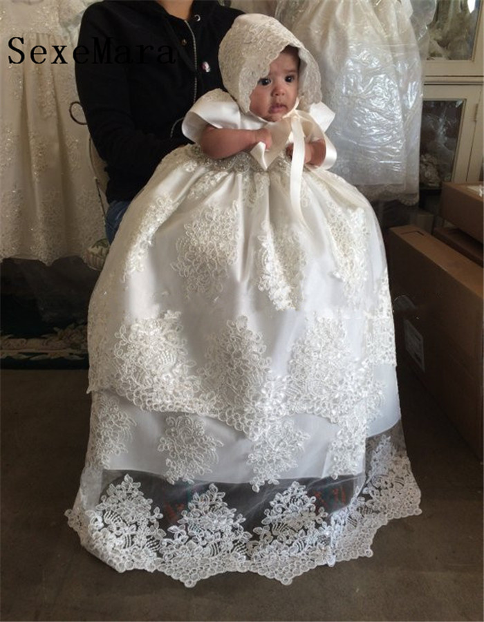 Ivory White Lace Baby Girls Long Christening Gown Infant Girls Birthday Dress Blessing Outfit Baptism Gown with Bonnet 2016 lace appliques baby boys girls infant outfit heriloom dress dedication baptism gown long christening gowns with bonnet