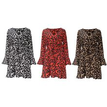 Womens Long Flare Sleeves Chiffon Mini A-Line Dress Vintage Leopard Printed Wrap Front V-Neck Empire Waist Ruffles Swing Beach S