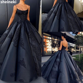 2019 Elegant Navy Blue Satin Backless Ball Gown Evening Dresses Plus Size Lace Appliques Sexy Prom Dress Long Formal Black Gowns