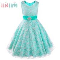 Kids Girls Dress Formal Party Ball Gown Pageant Graduation Dress Girl Floral Lace Rhinestone Vestidos Dress