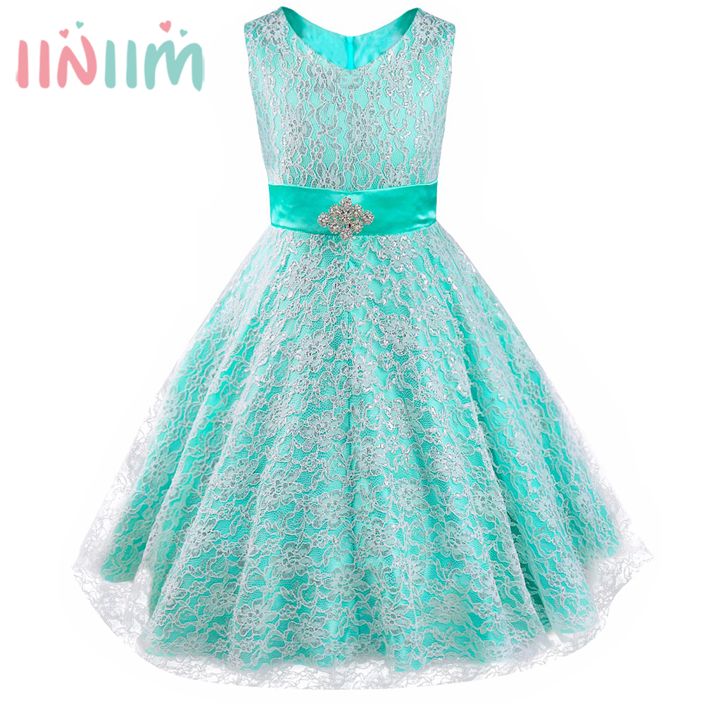 iiniim Teen Tutu Dress Ball Gown V-neck Princess Dress Girl Floral Lace Rhinestone Vestidos Weeding Birthday Party Formal Dress