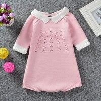 2017 Newborn Baby Girls Bobo Bebe Infant Romper Girl Wear Party Lovely Princess Knitting Jumpsuit Playsuit