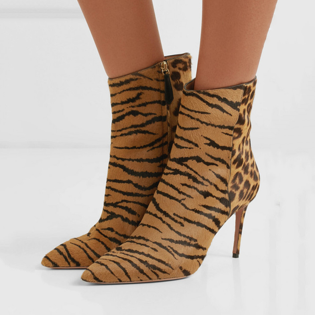 b82e44aad15 Eunice Choo Tiger Leopard Pattern Horsehair Patchowk Leather Ankle Boots  Sexy Ladies Zipper Booties High Heels Women Shoes