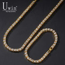 UWIN 5MM Tennis Chain Rhinestones Necklace Bracelet And Set NE+BA 1 Row Bling Bling Iced Out Luxury Fashion Jewelry(China)