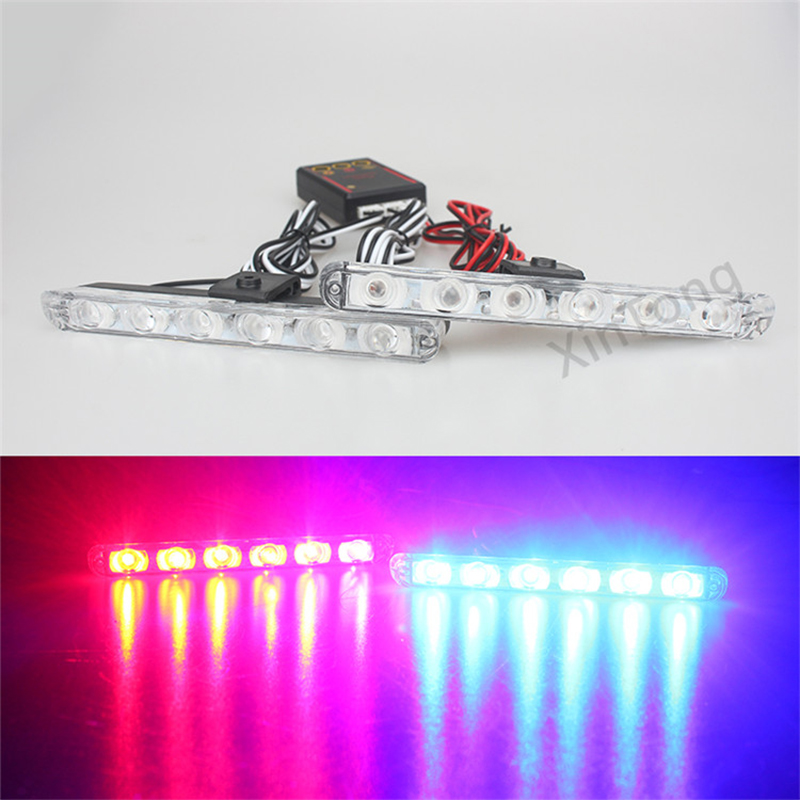 2x6/led DC 12V Strobe Warning light Car Truck Light Flashing Firemen Lights Ambulance Police light with controller box