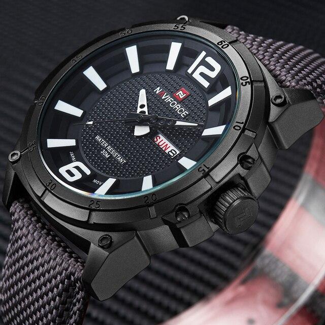 ff1945d3d52 NAVIFORCE Militares Top Marca Relógios Homens Moda Lona Ocasional de Couro  Do Esporte de Quartzo Relógios
