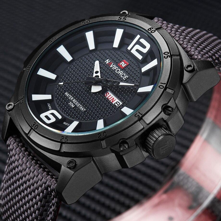 NAVIFORCE marca relojes militares de los hombres de moda de lona casuales de deporte de cuero pulsera de cuarzo hombre reloj Relogio Masculino