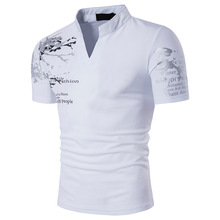 In 2017, the new men polo shirts printed fashion of cultivate ones morality summer short-sleeved shirt