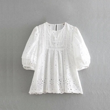 60093679ce064a Women Hollow Embroidery Lace Splicing White Shirt Casual Lantern sleeves  Blouses O-Neck Smock Loose