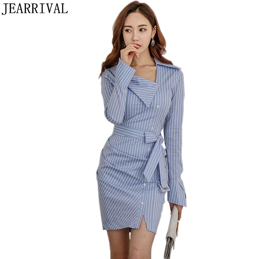 Elegant Striped Casual Shirt Dress 2017 Korean Fashion ...