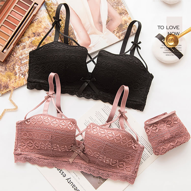 Buy Roseheart Women Fashion Lace Bra Sets Cross Straps Cotton Panties Wireless Bra Underwear Sexy Lingerie Sets B Japanese Bras