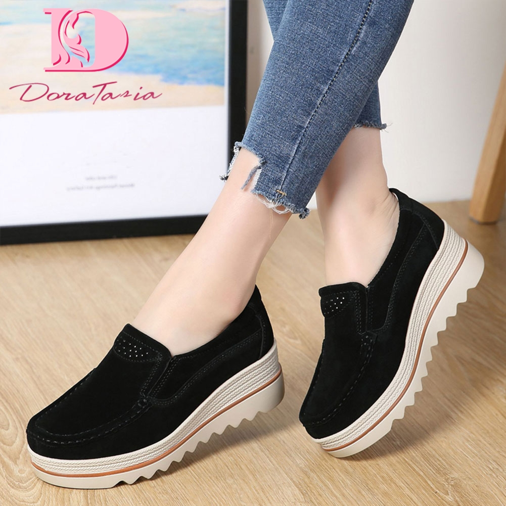 DoraTasia Autumn Spring Women Flat Shoes Platform Sneakers   Leather     Suede   Casual Shoes Slip On Flats Heels Creepers Moccasins