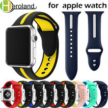 Купить с кэшбэком Sports Silicone for apple watch band 42mm 38mm 40mm 44mm smart Watchbands Wrist Bracelet Strap for iWatch Series 4/3/2/1 belt