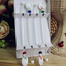 Custom wholesale! Munuola creative tableware set glass Christmas Snowman sculpture white spoon and swizzle stick