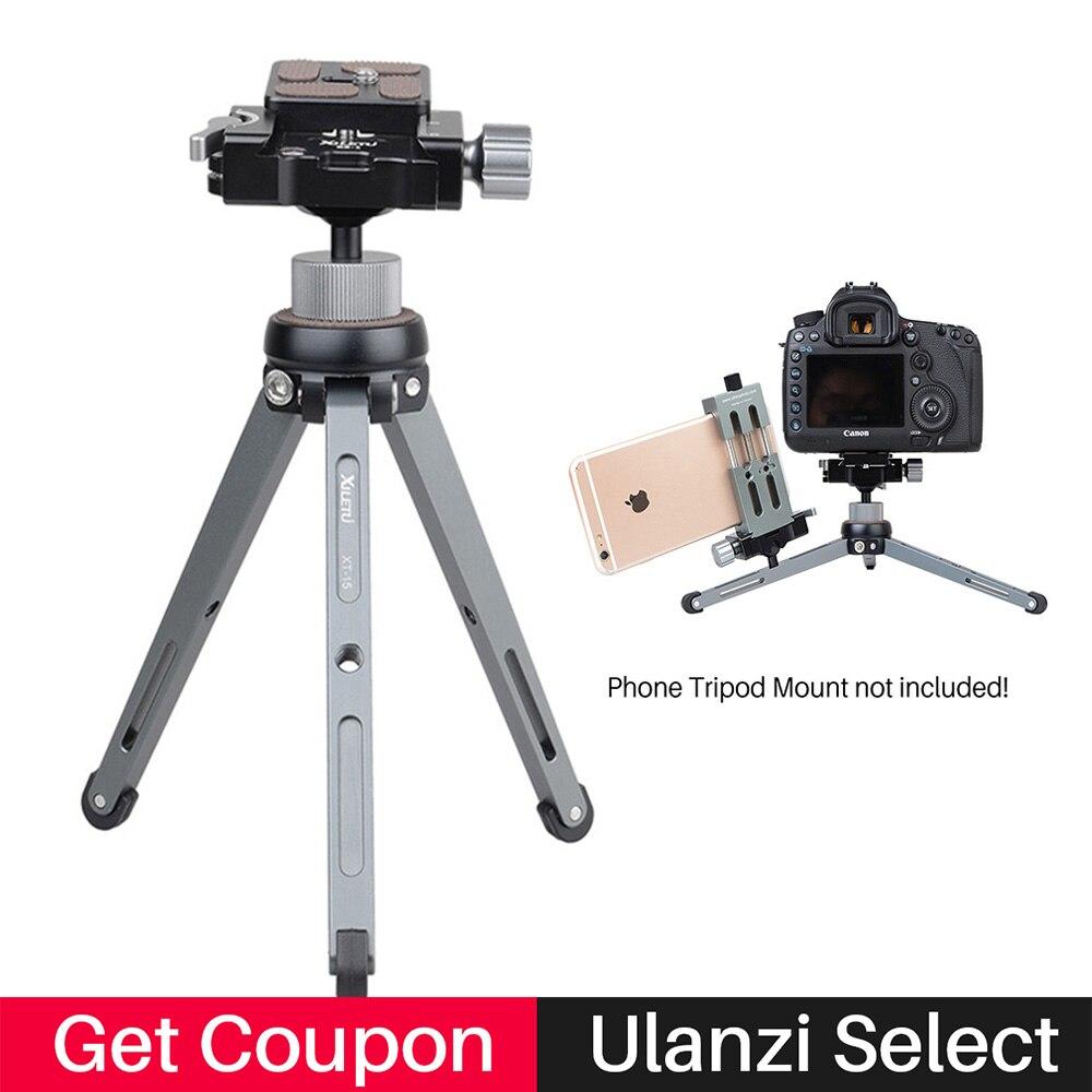 Xiletu XT-15 + BS-1 Metallo Mini Treppiede con testa A Sfera, piastra A Sgancio rapido 2.5 kg di carico utile per Canon Nikon D5300 DSLR per il iphone