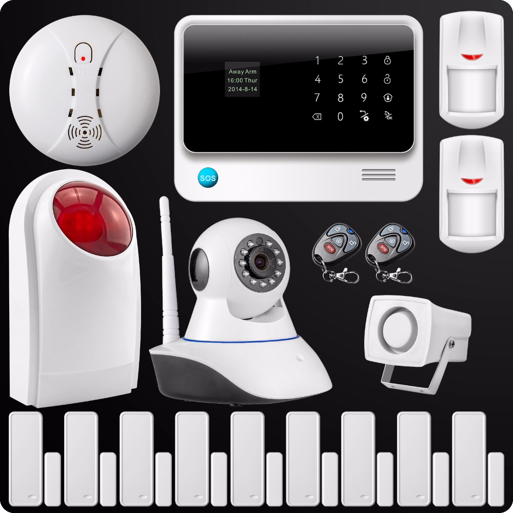 цены Free Shipping 2.4G WiFi GSM GPRS SMS Wireless Home House Security Intruder Alarm System IP Camera Flash Siren Smoke Detector