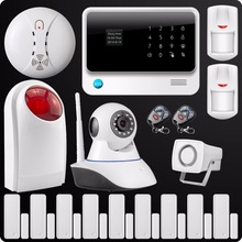 Free Shipping 2.4G WiFi GSM GPRS SMS Wireless Home House Security Intruder Alarm System IP Camera Flash Siren Smoke Detector