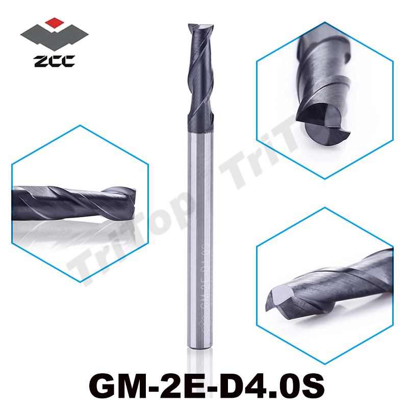 5pcs/lot ZCC.CT GM-2E-D4.0S Solid carbide 4mm end mill 2 flute flattened end mills with straight Slim shank milling cutter