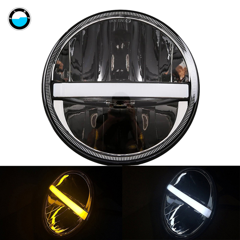 7 inch Round Hi/Lo Motorcycle Driving Light with DRL Turn Signal Halo for Harley Davidsion 7LED Daymaker Headlights . 7 inch round led headlights drl