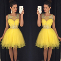 Amarelo graduação Sheer pescoço Organza cristal frisado vestido de baile vestido de formatura
