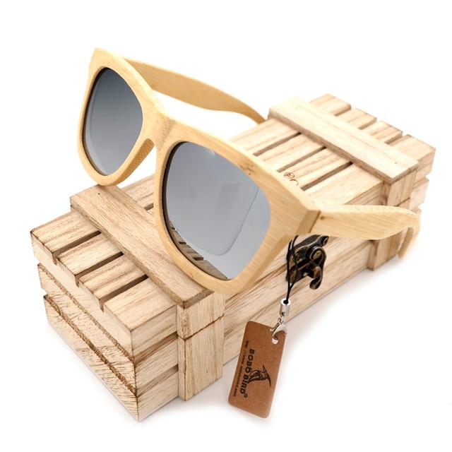 BOBO BIRD G021-2 Handmade Nature Bamboo Sunglasses For Unisex Gift Mirror Coating Lenses Eyewear Cool Silvery Polarized Lens