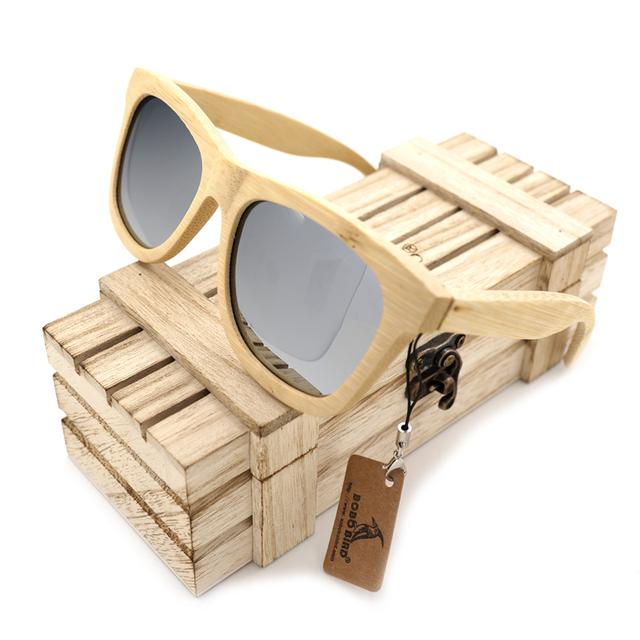 BOBO PÁSSARO G021-2 Handmade Natureza Revestimento de Espelho Óculos De Sol De Bambu Para O Presente Unisex Lentes Eyewear Fresco Prateado Lente Polarizada
