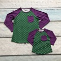 baby girls boutique cute T-shirt  fall/winter mother and child family look kids top pocket clothes mermaid purple green ruffles