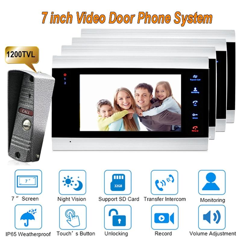New 7 inch 1200TVL Video Door Phone Doorbell  Intercom system With  IP65 Camera DoorPhone 1V4 door intercom video cam doorbell door bell with 4 inch tft color monitor 1200tvl camera