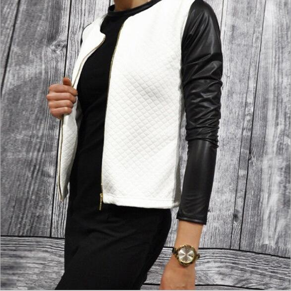 2018 Spring Autumn Women Thin Basic Coats Jackets Tops PU Leather Jacket Long Sleeve Coat Casual Slim Fit Outerwear Plus Size 3
