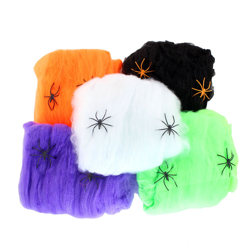 Wholesale 10pcs Creative Cotton Spider Web Halloween Party Decoration Props Horrible Masquerade Cobweb Cosplay Accessary