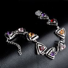 Hollowed out Triangle inlay Multicolor CZ Bracelet Bangles For Women Silver Plated Cuff Jewelry Gift Dropshipping