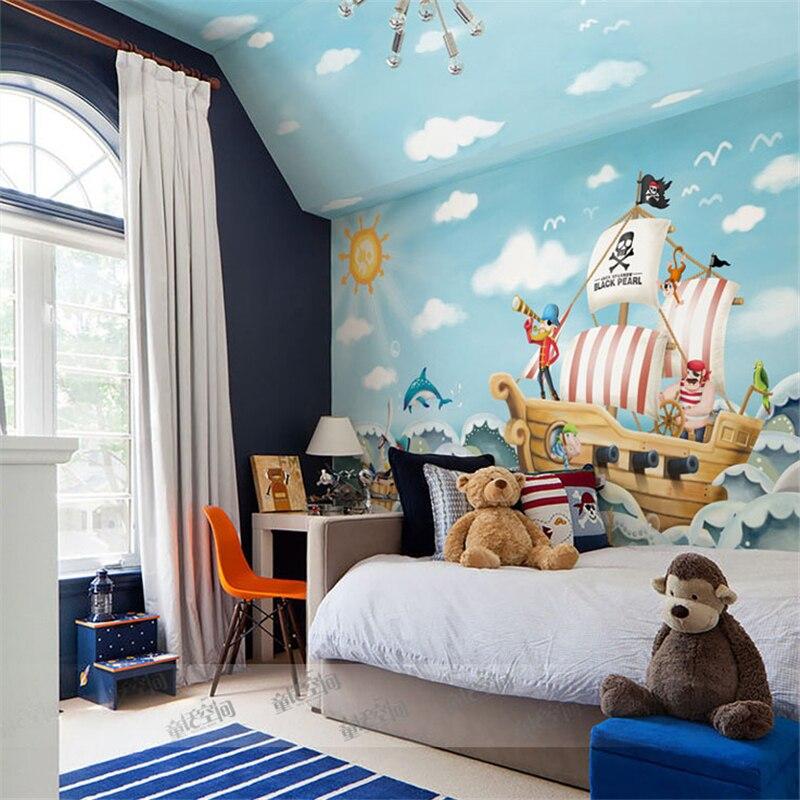 Beibehang Wholesale Boat Jack Sparrow Mural Pirate 3d Cartoon Mural Wallpaper For Baby Children Kids Room