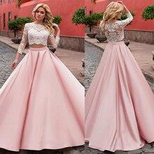 ファッショナブルなサテン A ツーピースのウェディングドレスとレースアップリケピンク 3/4 袖ブライダルドレス