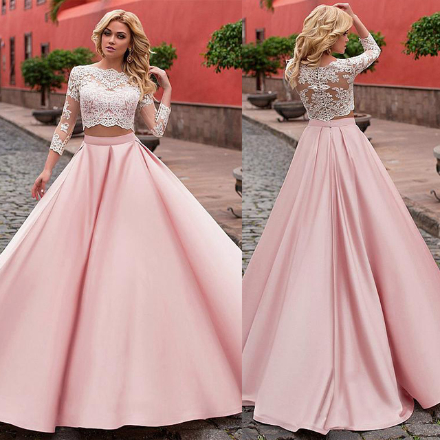 Fashionable Satin Jewel Neckline A Line Two piece Wedding Dress With Lace Appliques Pink 3/4 Sleeves Bridal Dresses