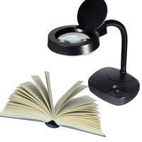 Folding Portable Flexible Magnifying Glass LED Reading Desk Lamp EU Plug