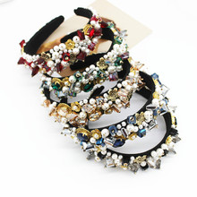 Luxury Woman Hair Accessories Baroque Jewel Gem Ladies Jewelled Band Acrylic and Geometric Beads Korean Fashion Headband